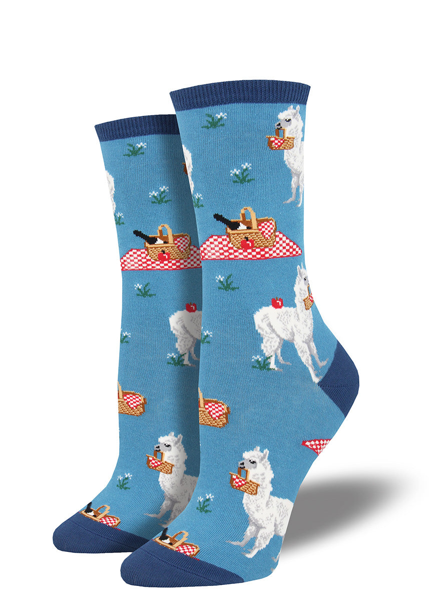 Cute alpaca women's socks with alpacas packing picnics!