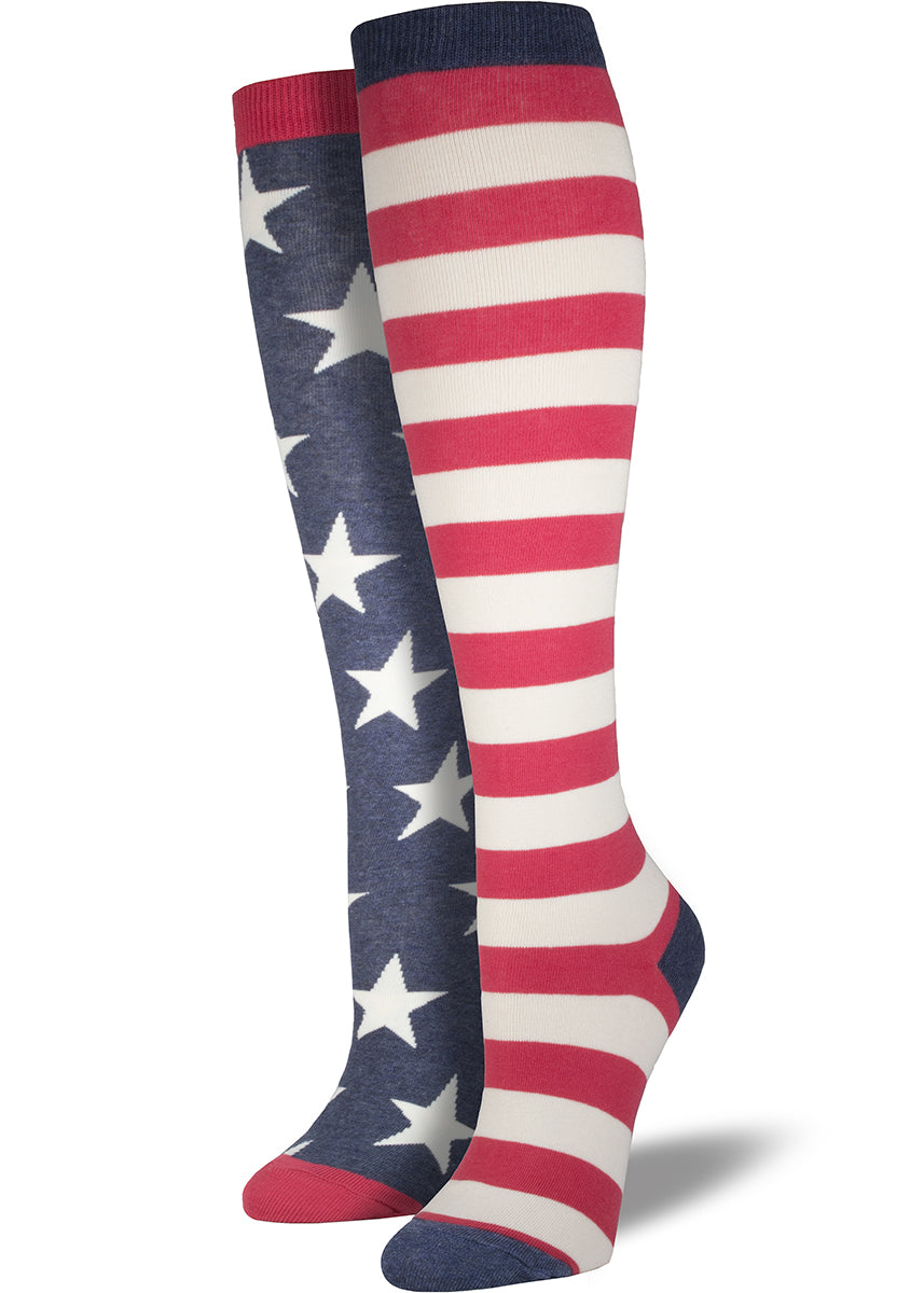 Patriotic American flag knee socks for women with red & white stripes on one sock and stars on blue on the other sock