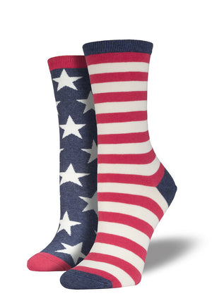 American flag socks for women with mismatched feet