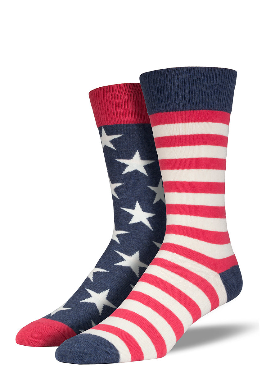 American flag socks for men with mismatched stars and stripes
