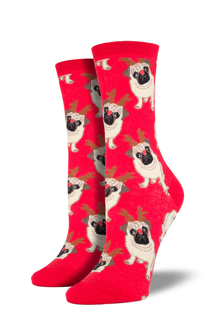 Even the dogs are getting into the holiday spirit on these Antler Pug Crew Socks!