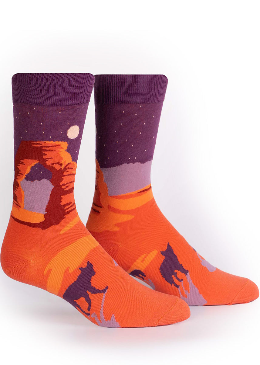 Nature socks for men show the Delicate Arch in front of a star-filled purple sky with a full moon.