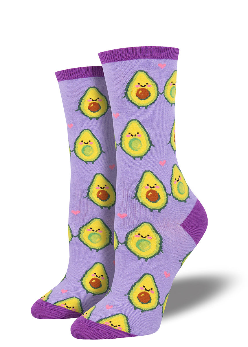 Avocado socks for women with happy avocados holding hands on purple socks
