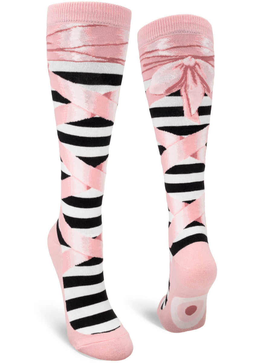 Knee high socks for women make it look like you're wearing pink ballet slippers with ribbons crossing up to your knees!