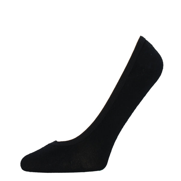 Black no-show liner socks stay hidden in flats and heels.