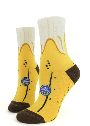 Funny banana socks with grips for women