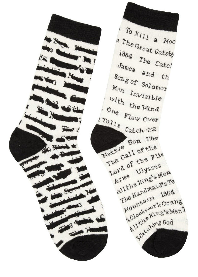 Banned books socks for women with censored book titles on black & white socks