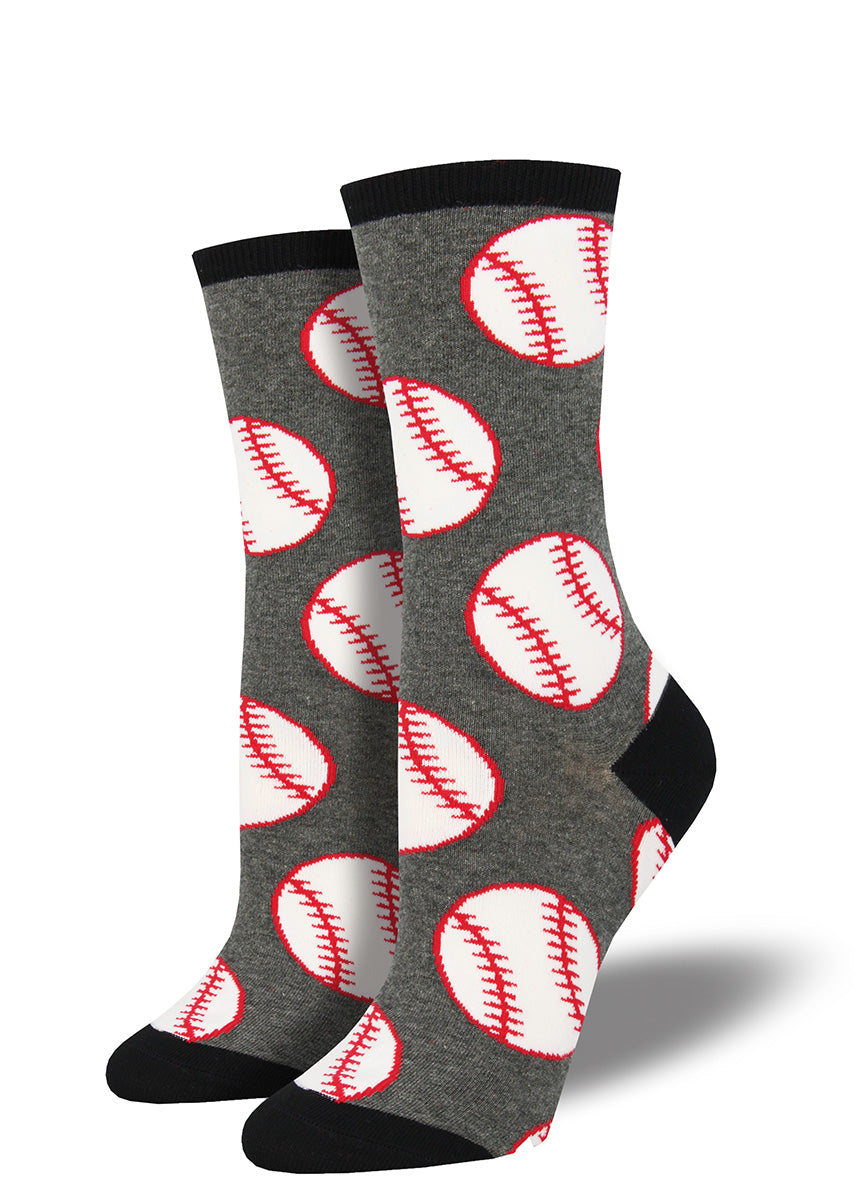 Go out to the ballgame in baseball socks for women with baseballs on them!