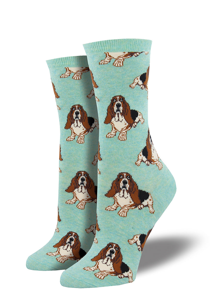 Basset hound socks for women covered in droopy-eyed dogs.