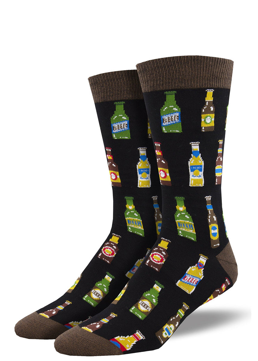 Crew socks for men are made of super-soft bamboo and feature a design of assorted beer bottles.