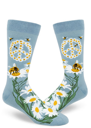 Bee socks for men with peace signs made of daisy flowers