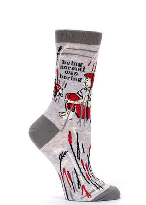 "Funny women's socks with turtles that say ""Being normal was boring."""