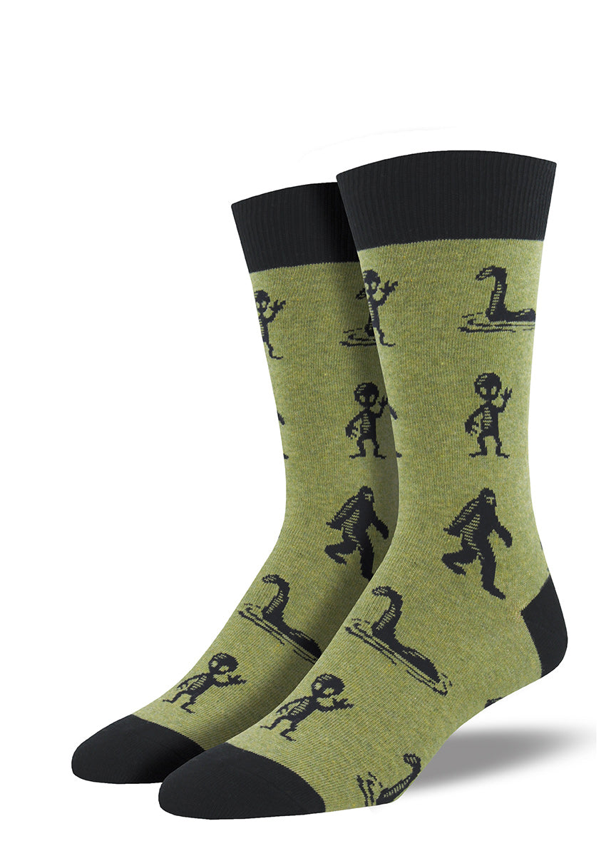 Bigfoot and alien socks for men with Sasquatch, aliens and the Loch Ness Monster on green socks