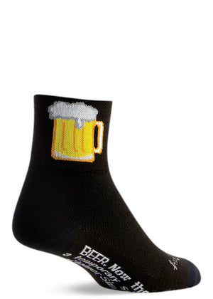 "Men's beer socks with mugs of beer and a Simpsons' quote that says ""Beer: now there's a temporary solution."""