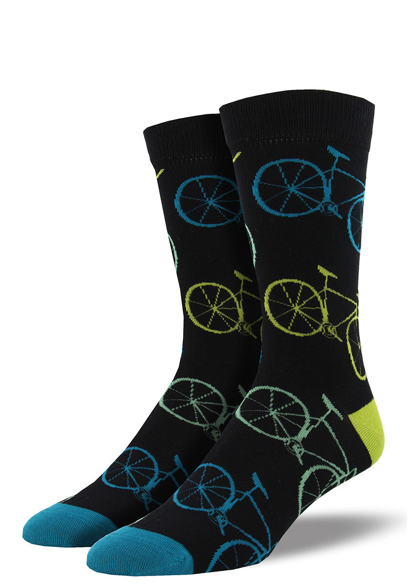 Bamboo bicycle socks for men with bikes on a black background