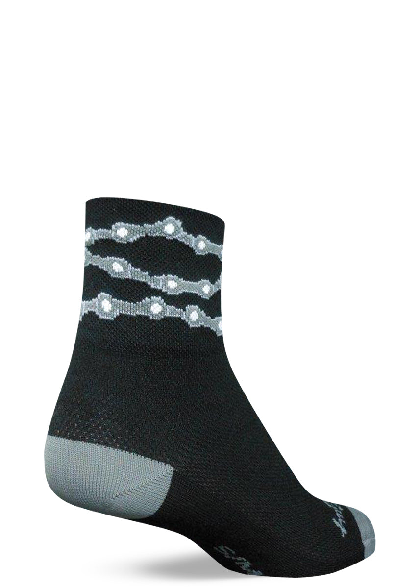 Bike chain socks for men with silver bike chains on black background performance athletic socks