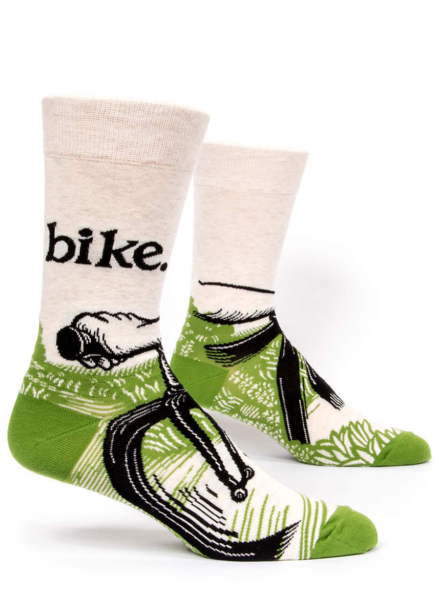 "Cycling socks for men with bicycles and the word ""bike"" in bold letters."