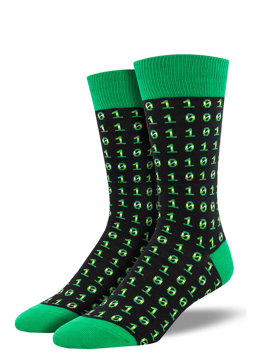 Binary code socks for men feature green ones and zeros on a black background.