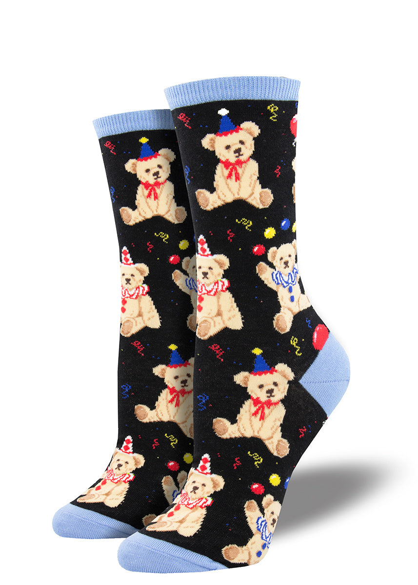Birthday socks for women feature festive teddy bears in party hats and ruffled collars holding balloons with confetti!