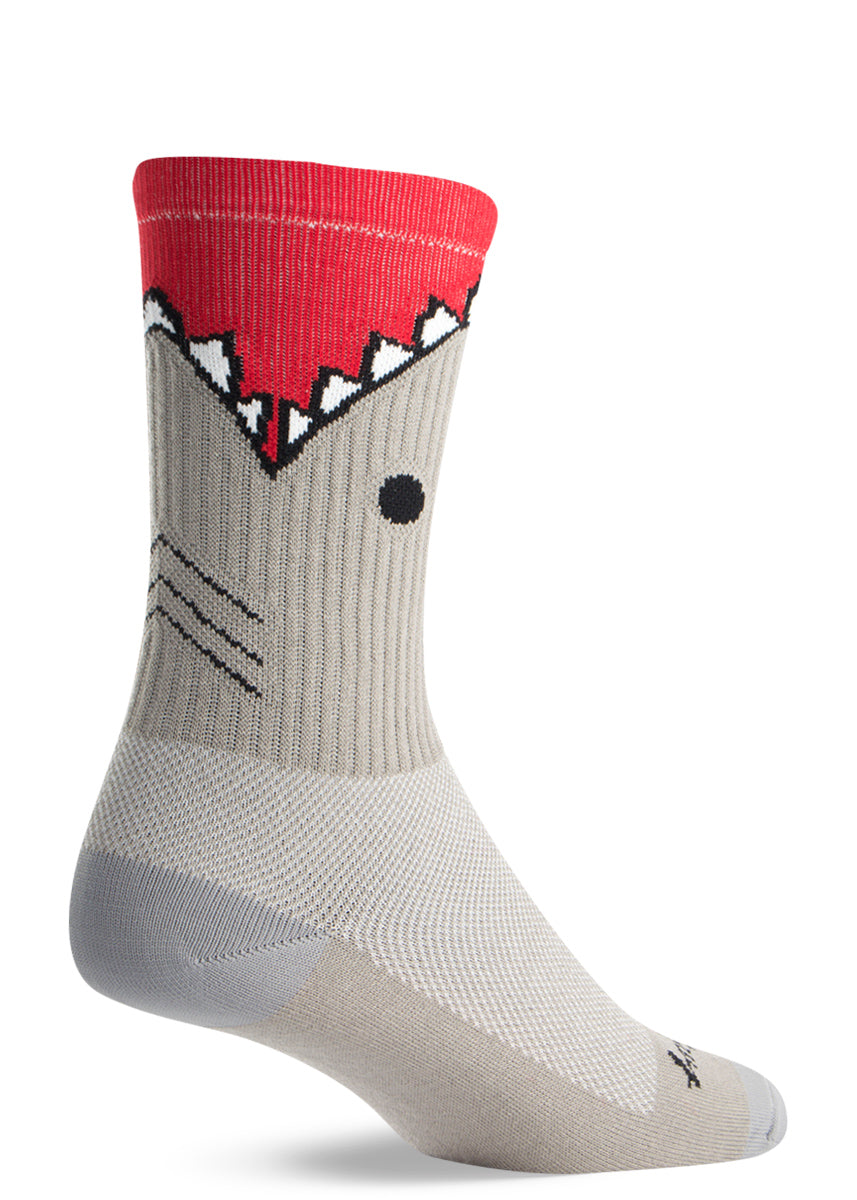 Funny shark socks that look like a shark is biting your leg on athletic crew socks