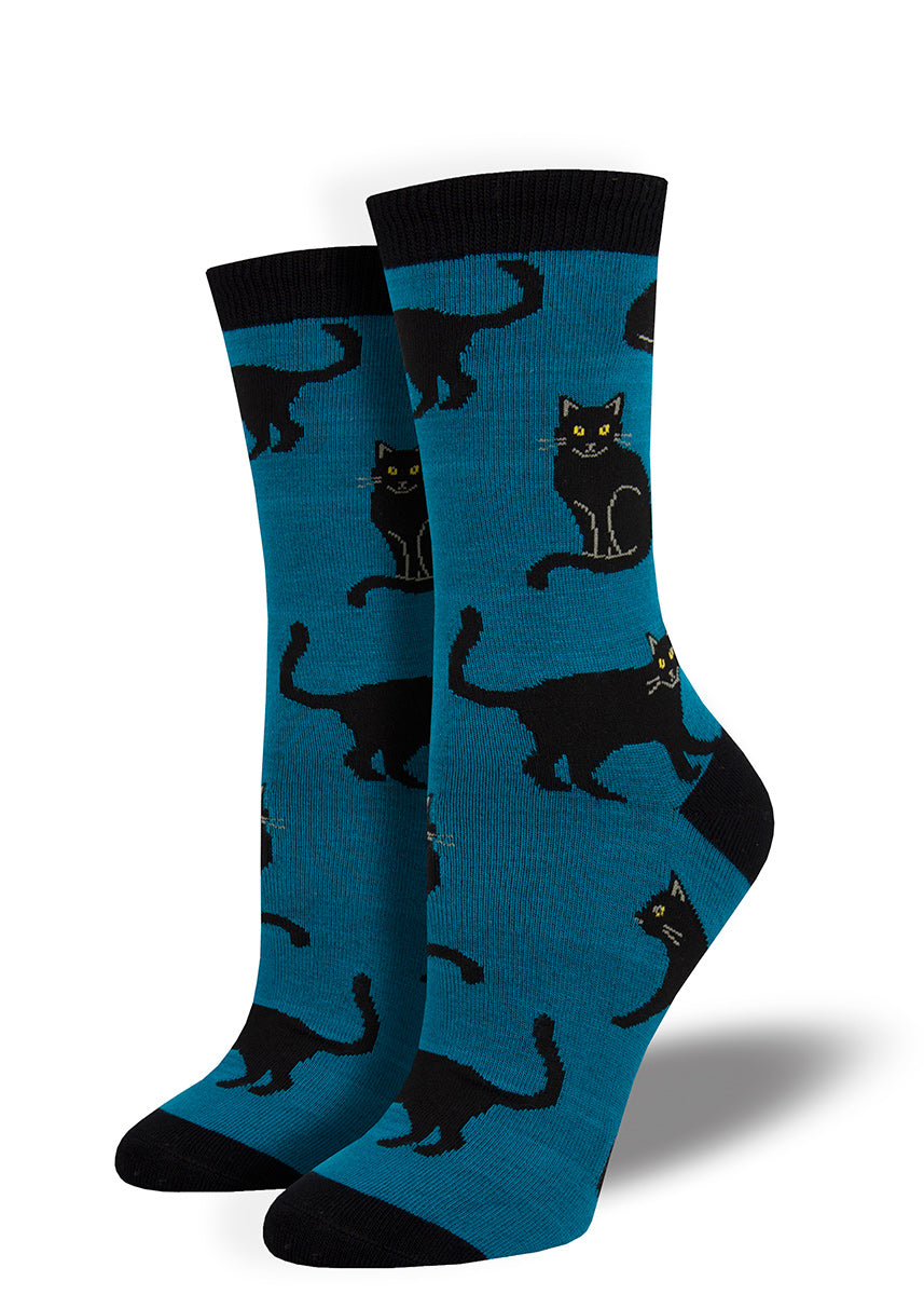 Blue bamboo socks with black cats for women with black cats with yellow eyes