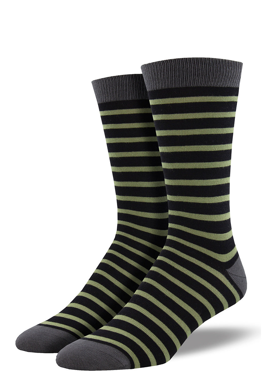 Bamboo socks for men come in a black and green striped design.