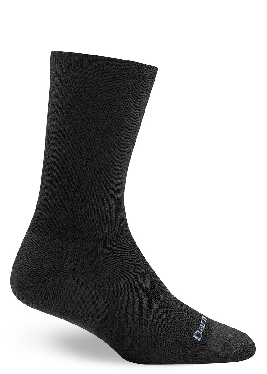 Solid black merino wool socks for women from Darn Tough are a wardrobe staple!