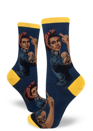 Feminist socks for women with Black Rosie the Riveter with NASTY tattoo and flipping the bird on a navy background