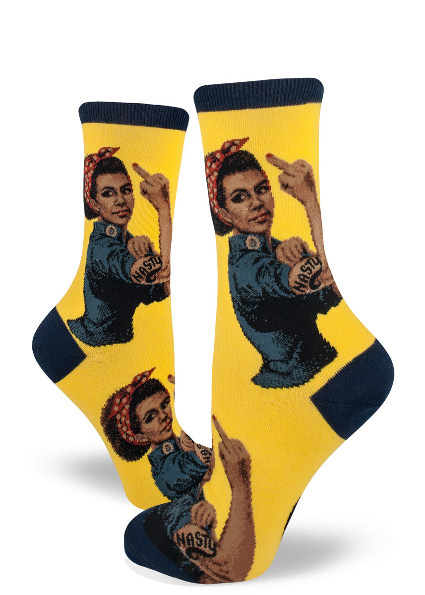 Feminist socks for women with Black Rosie the Riveter with NASTY tattoo and raising her middle finger on a yellow background