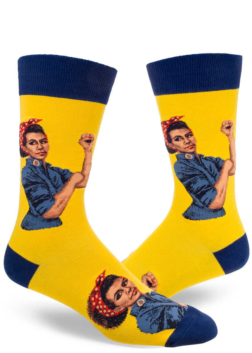 Crew socks for men feature a Black pride Rosie raising a power fist.