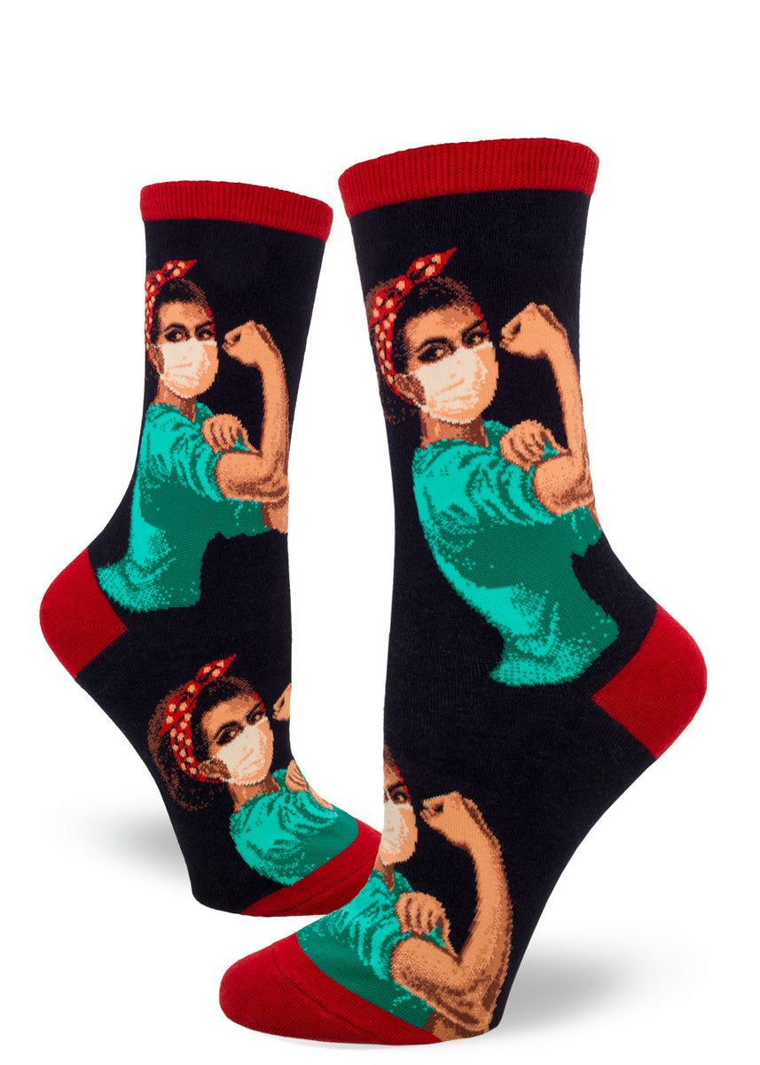 Rosie the Riveter crew socks for women show Black Rosie as a healthcare worker with a mask and scrubs.