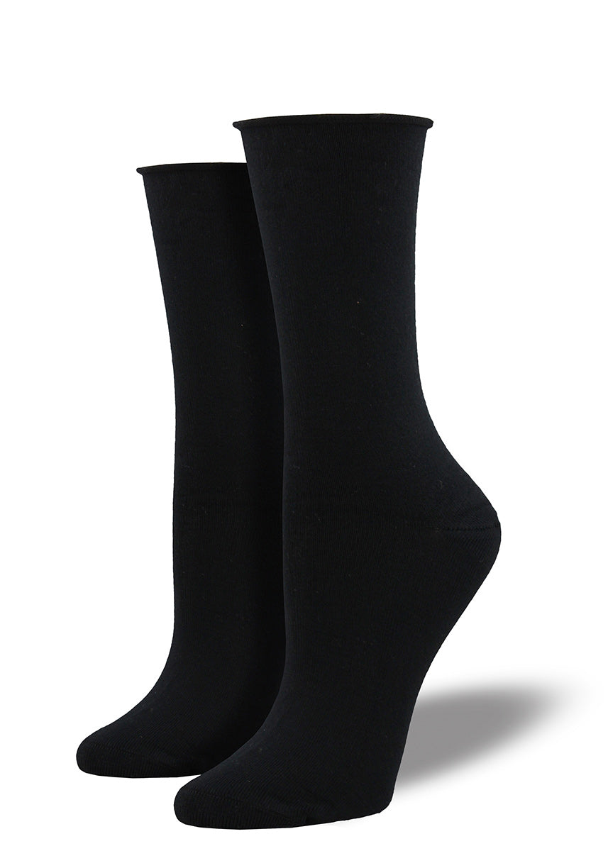 Solid black bamboo socks for women with a roll-top.