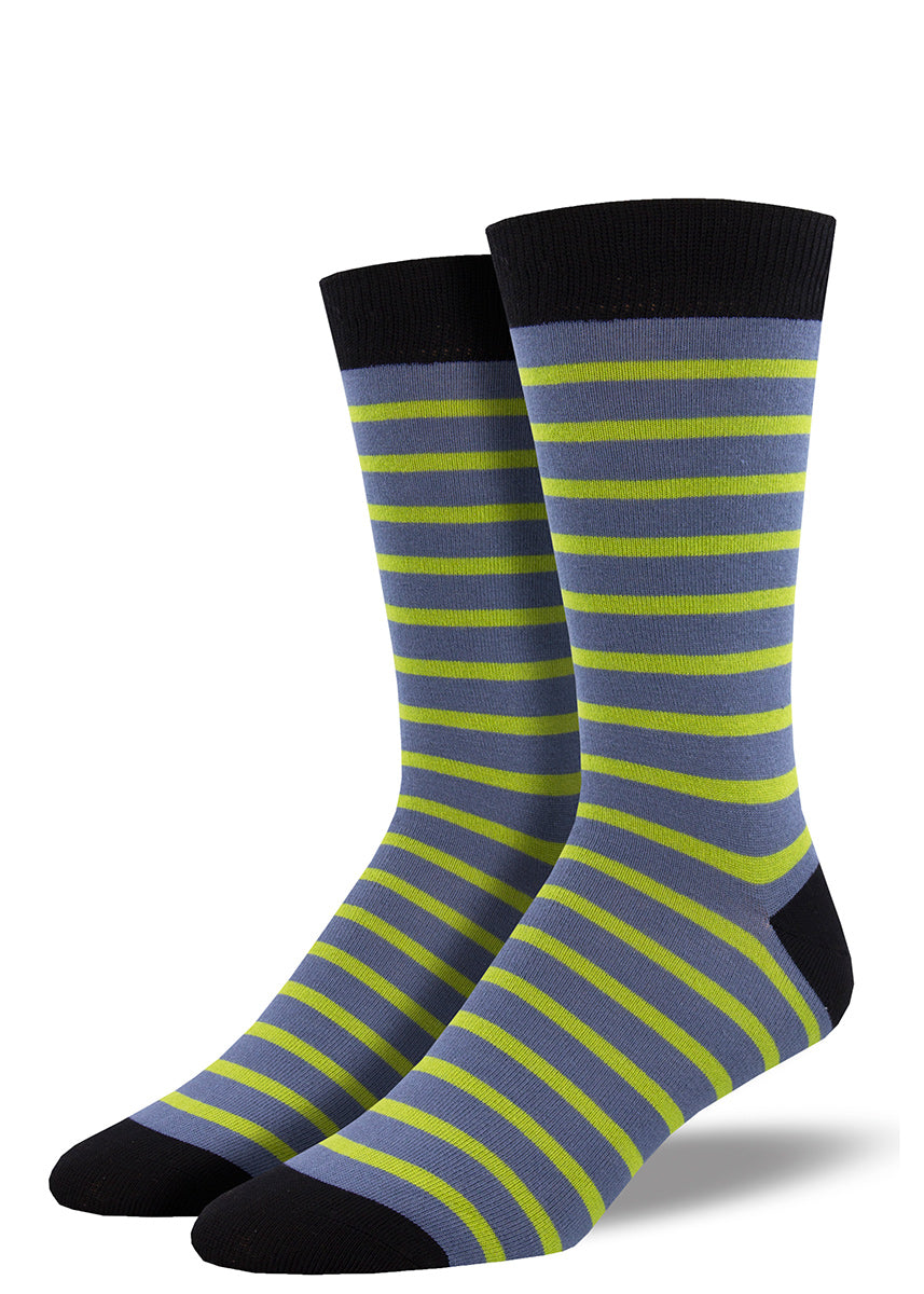 Bamboo socks for men feature sailor stripes in light blue and bright green.