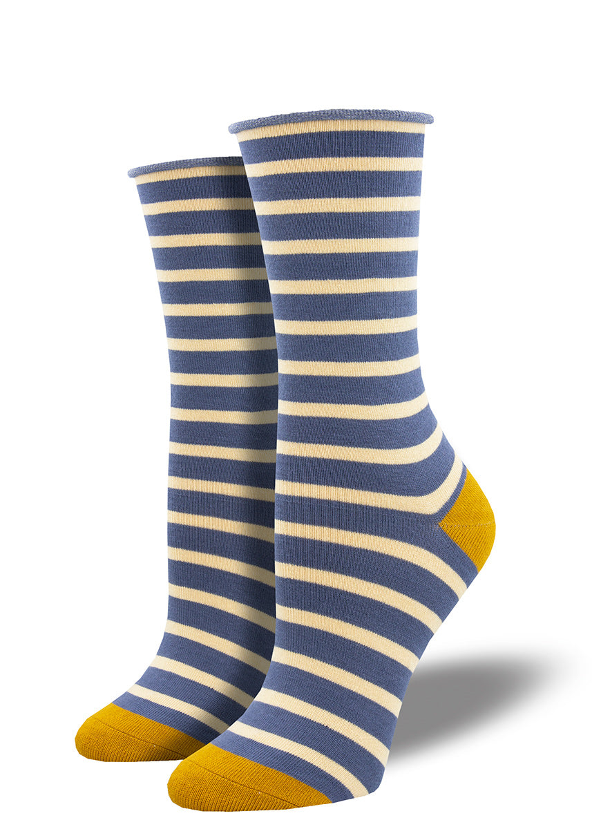 Bamboo socks for women feature blue and white stripes with yellow heels and toes.