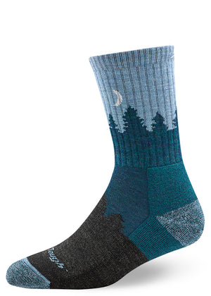 Wool socks with trees and crescent moon and cushioned sole