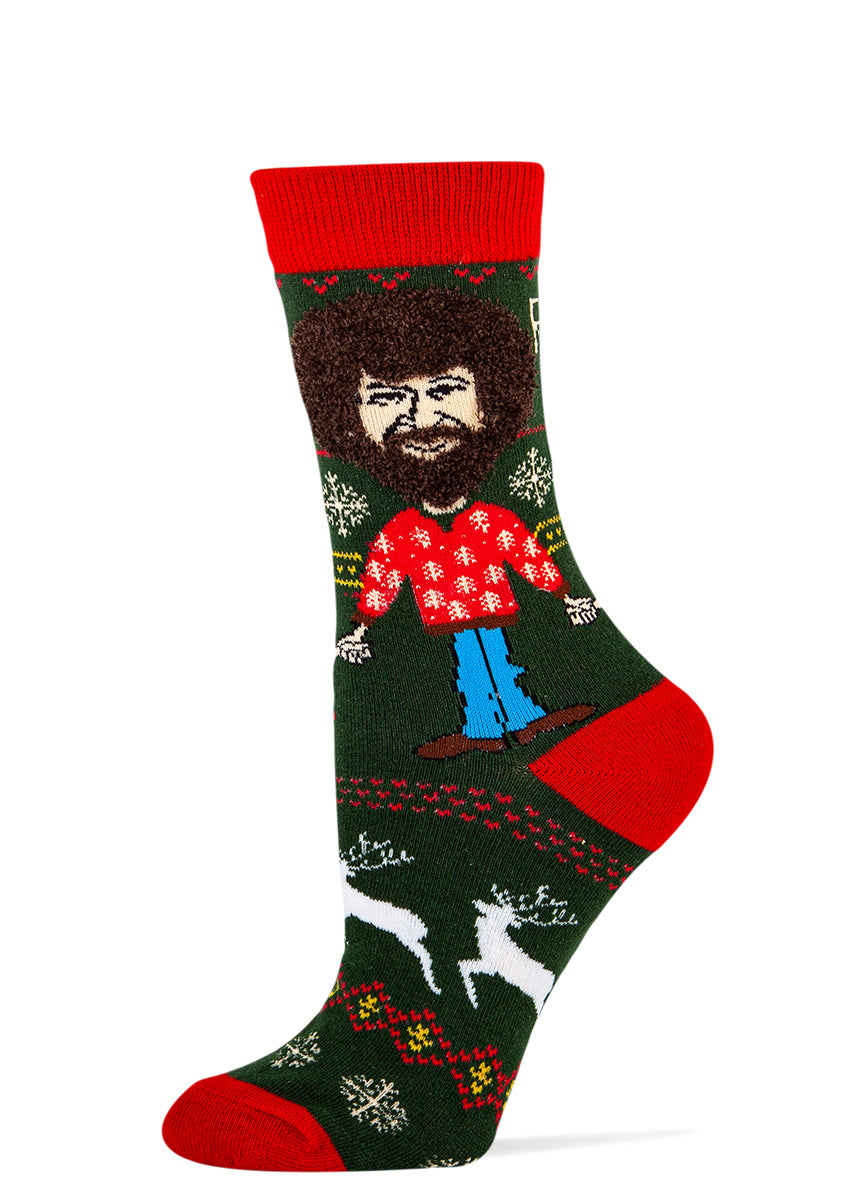 Funny Bob Ross Christmas socks for women with happy little trees and real fuzzy hair