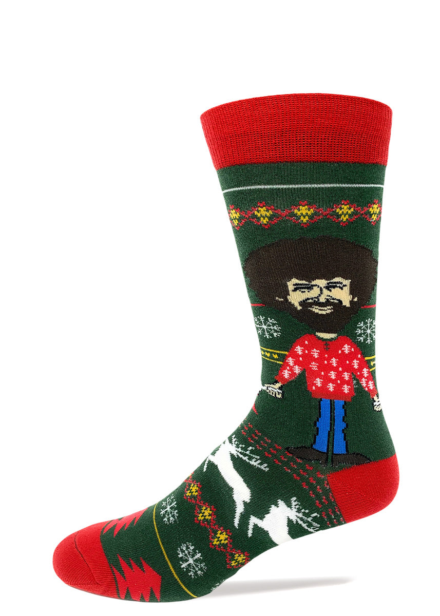 Funny Bob Ross Christmas socks with ugly Christmas sweater pattern and happy Christmas trees