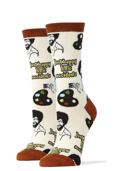"Funny Bob Ross socks say ""Just Happy Little Accidents"""