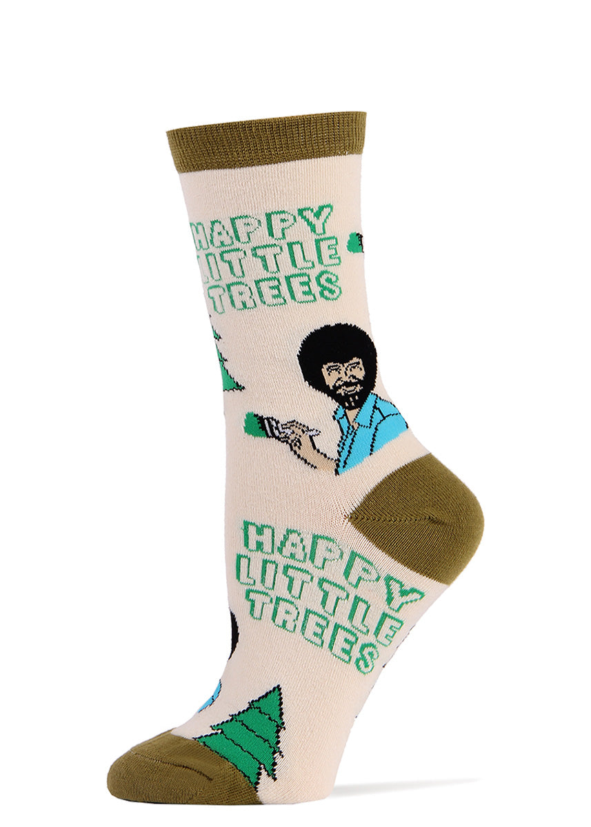 "Bob Ross socks for women with Bob Ross painting ""Happy Little Trees"""