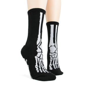 Slipper socks that show the bones of the foot like an x-ray