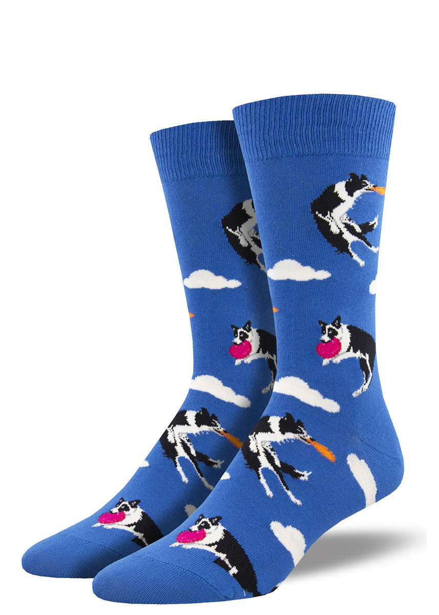 Dog socks for men show border collies jumping high to catch toys on a blue sky background!