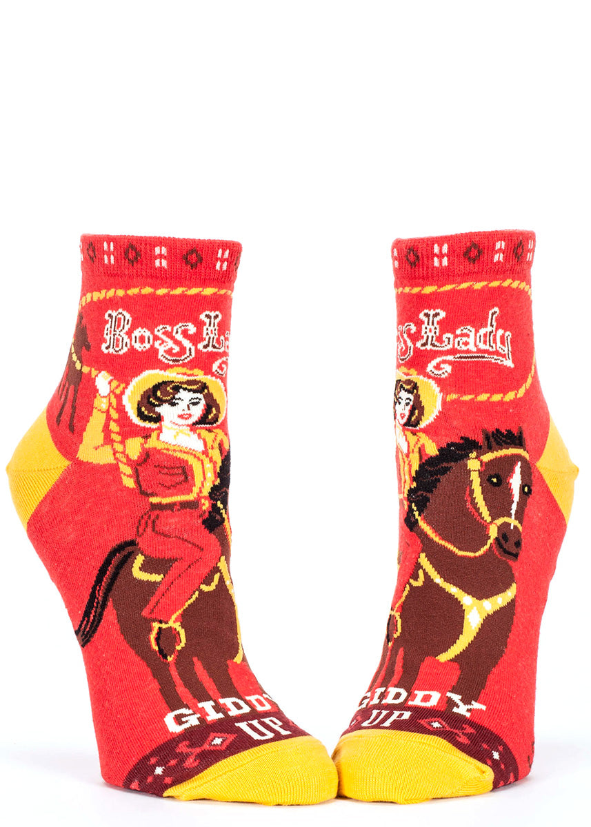 "Ankle-length cowgirl socks for women that say ""Boss Lady."""