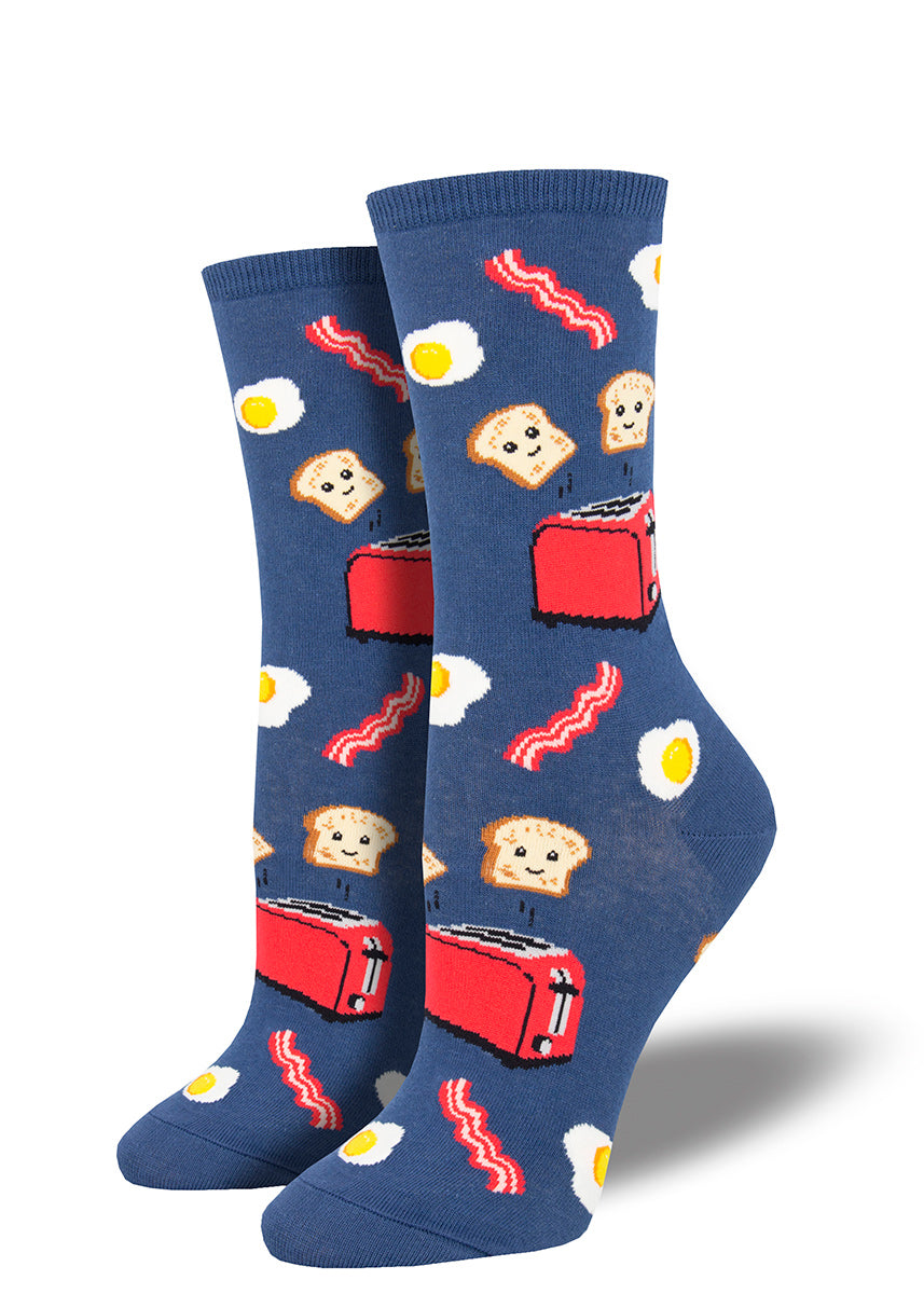 Cute breakfast socks for women with food like happy toast, eggs and bacon.