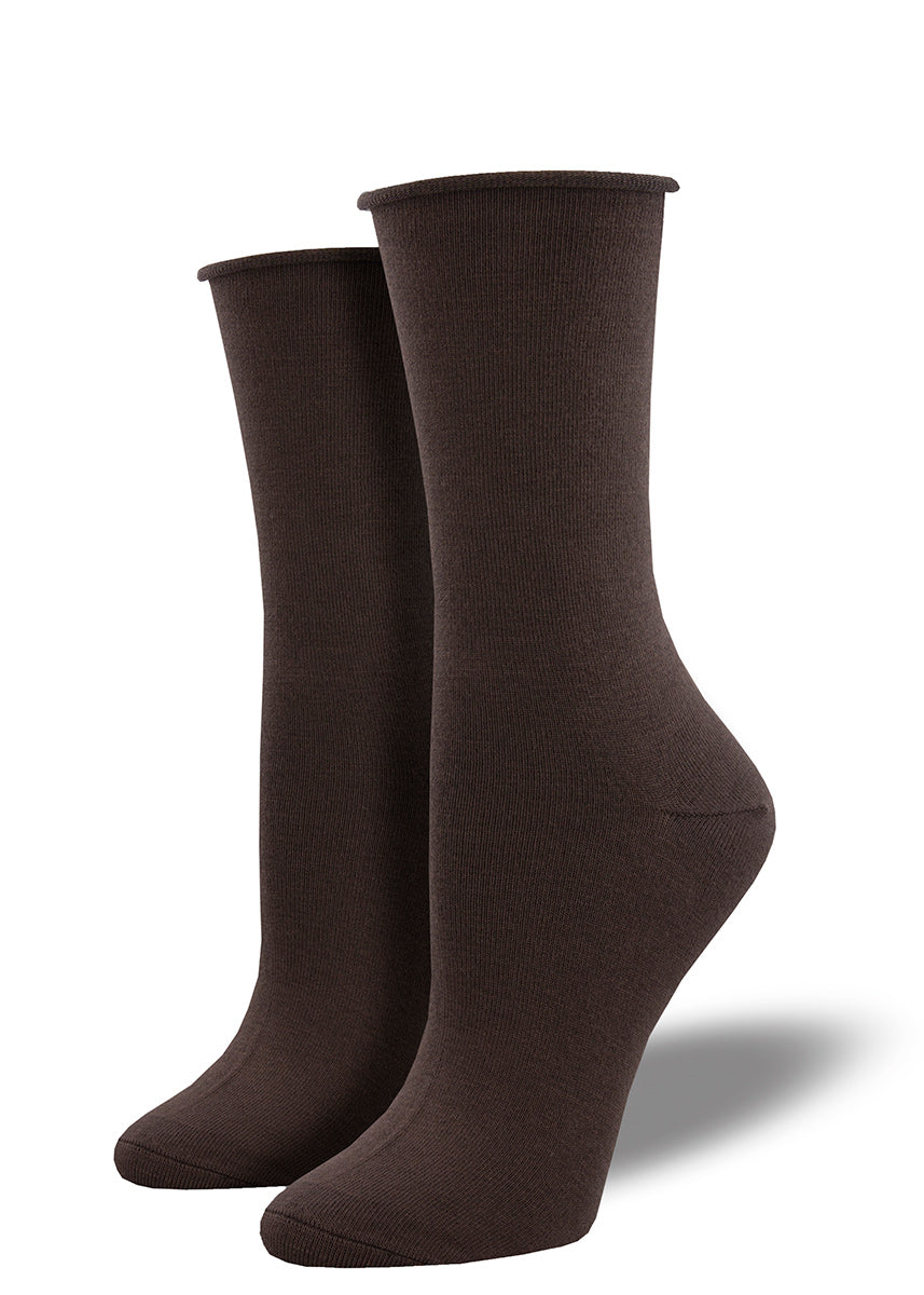 Solid dark brown bamboo socks for women with a roll-top.