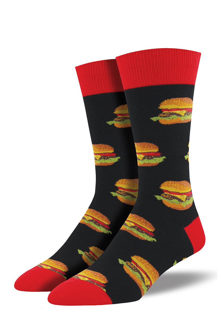 Burger socks for men with cheeseburgers on black socks with red accents