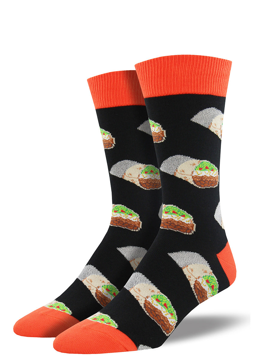 Burrito socks for men with burritos wrapped in foil on black socks with orange accents