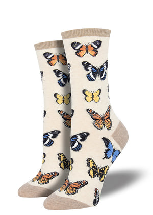 Butterfly socks for women with multicolored butterfly varieties