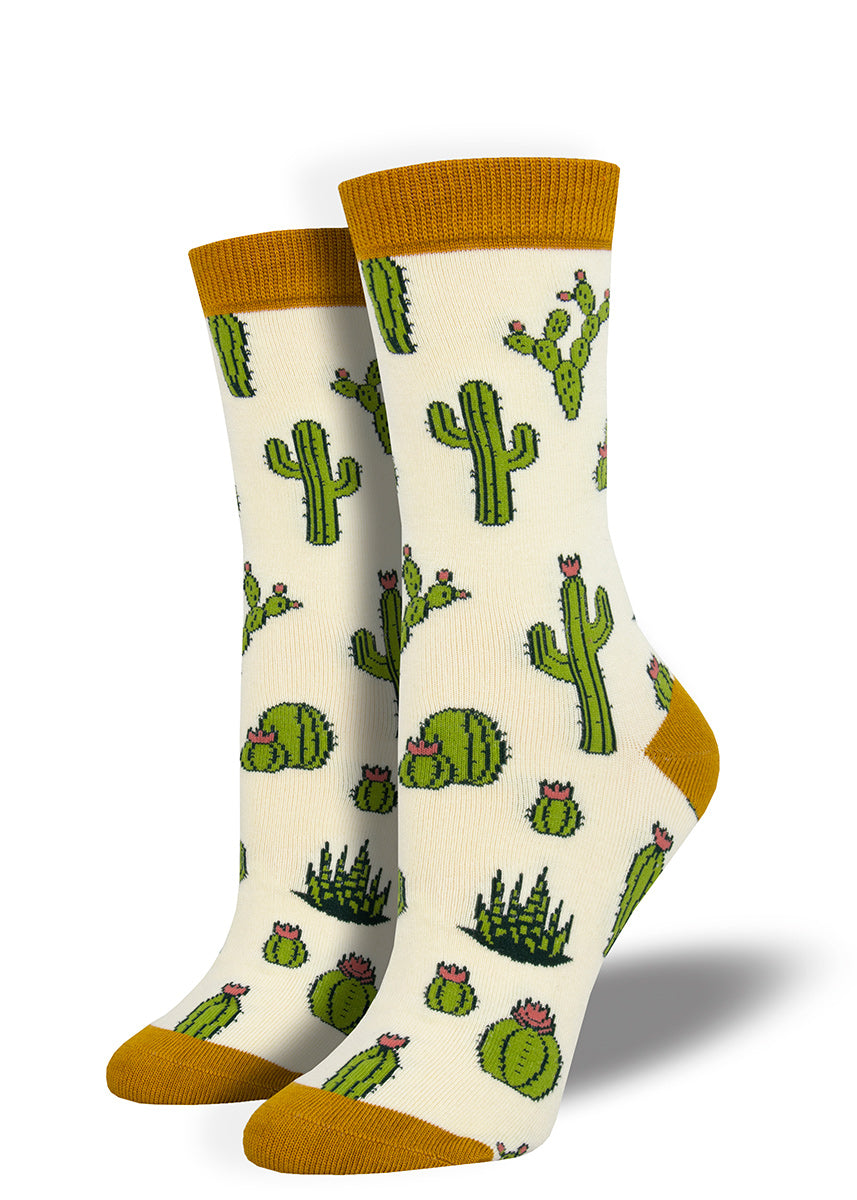 Cute cactus socks for women made from bamboo with blooming cacti on a ivory background with yellow accents