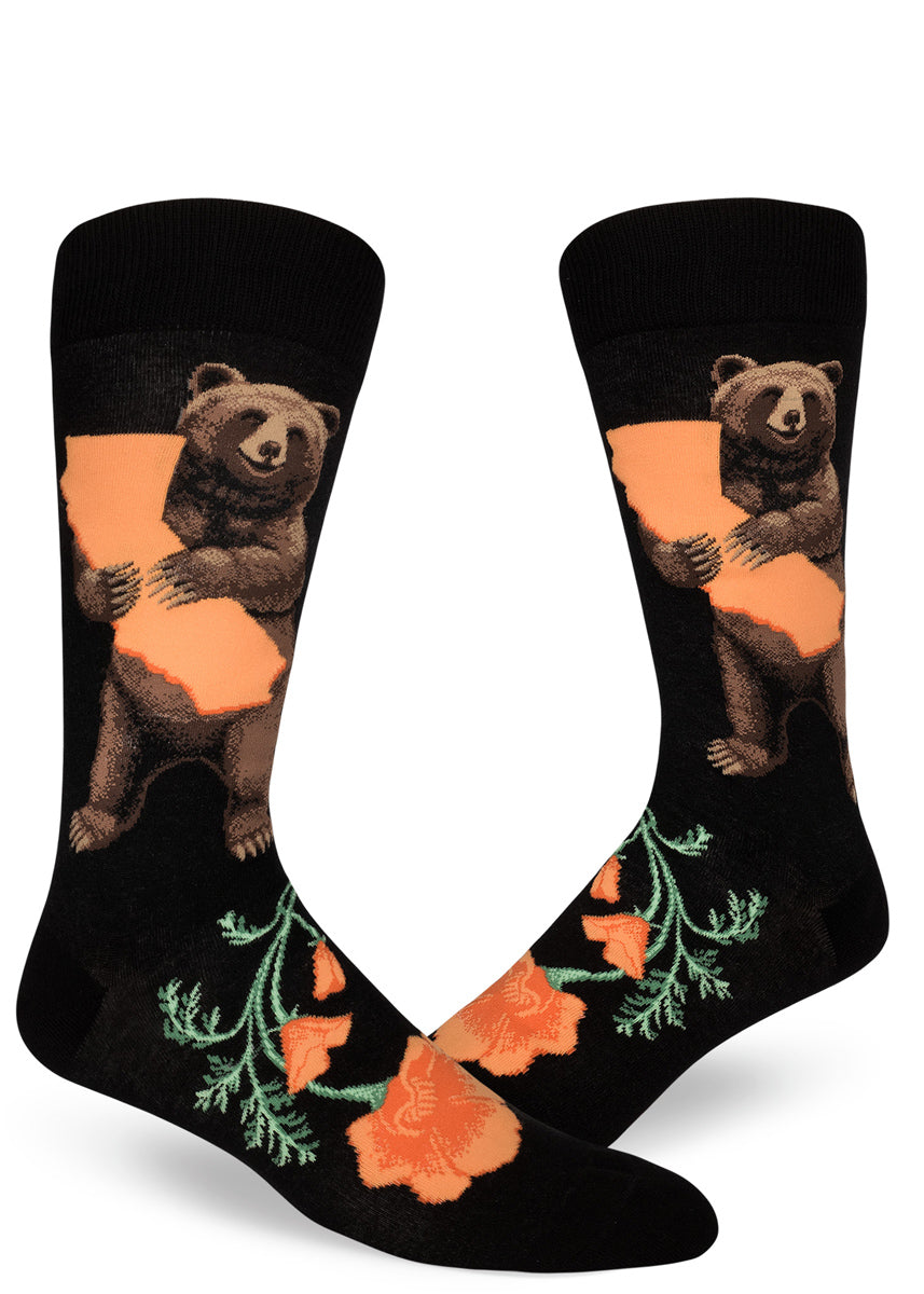 California bear socks for men with grizzly bears holding California state and orange poppies on a black background