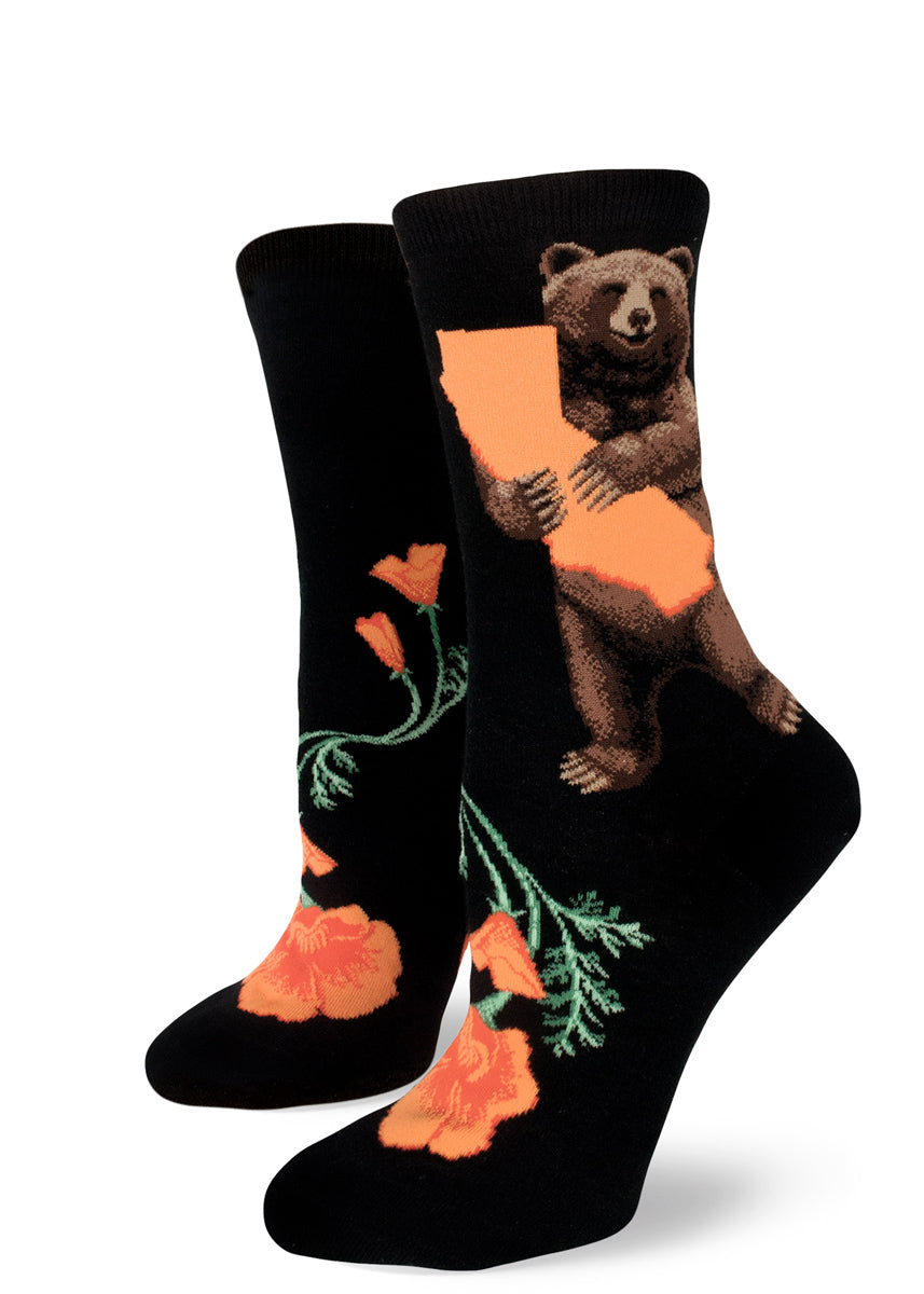 California socks for women with bears holding the state of California and orange California poppies on a black background